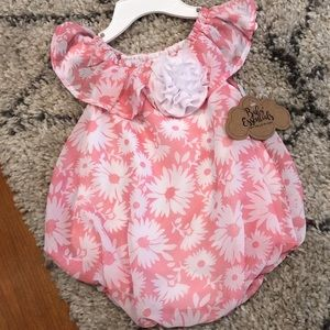 Pink floral bubble romper NWT